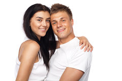 Happy young couple in casual clothing Stock Image