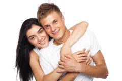 Happy young couple in casual clothing Royalty Free Stock Photo