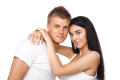 Happy young couple in casual clothing Stock Images