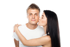 Happy young couple in casual clothing Royalty Free Stock Image