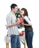 Happy young couple  with Christmas gifts Stock Image