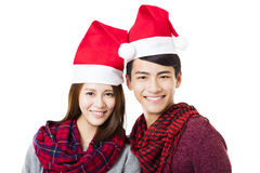 Happy young couple  with christmas wear Royalty Free Stock Images