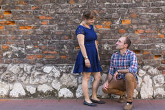 Happy young couple. Couple in love standing outdoors Stock Images