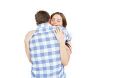 Happy young couple cuddling each other Royalty Free Stock Image
