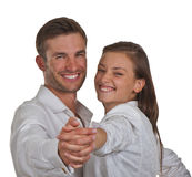 Happy young couple dancing Royalty Free Stock Image