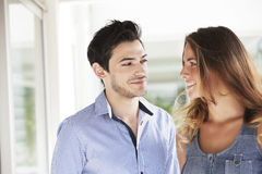 Happy young couple. Happy couple dating, looking at each other Stock Photo