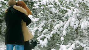 Happy Young Couple Dating In Snowy Park stock video