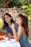 Happy young couple dining outdoors Stock Photos
