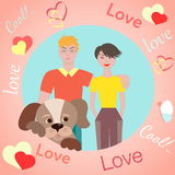 Happy young couple and dog. Stock Photo