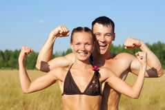 Happy young couple doing morning sports exercises Royalty Free Stock Photo
