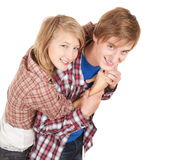 Happy young couple embracing Royalty Free Stock Images