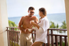 Happy young couple enjoying in morning Stock Images