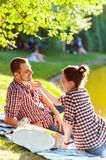 Happy young couple enjoying picnic. Toned image Stock Photos