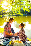 Happy young couple enjoying picnic. Toned image Stock Images