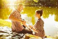 Happy young couple enjoying picnic. Toned image Stock Image