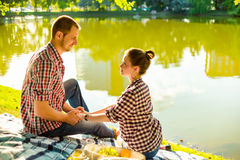 Happy young couple enjoying picnic. Toned image Royalty Free Stock Image
