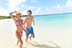 Happy young couple enjoying trip in tropics Royalty Free Stock Photos