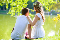 Happy young couple enjoying vacation at the lake Royalty Free Stock Photography