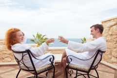 Happy young couple enjoying vacation. Happy couple enjoying vacations at Red Sea, Egypt Royalty Free Stock Images