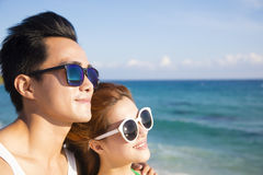 Happy young Couple face  on the Beach Stock Photos
