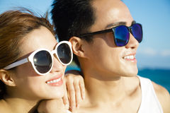 Happy young Couple face  on the Beach Royalty Free Stock Photo