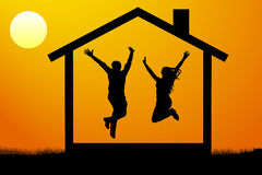Happy young couple, the family moved into their own new home at sunset vector illustration. Royalty Free Stock Photo