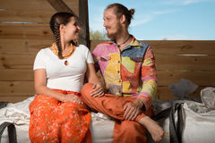 Happy young couple farming Royalty Free Stock Photo
