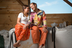Happy young couple farming royalty free stock images