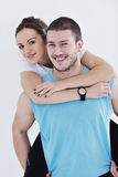 Happy young couple fitness workout and fun Royalty Free Stock Photos