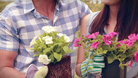 Happy young couple gardening together stock footage