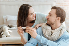 Happy young couple getting well at home Royalty Free Stock Image