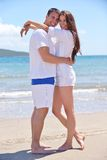 Happy young couple have fun on beach Royalty Free Stock Photos