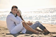 Happy young couple have fun at beautiful beach Stock Photography