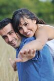 Happy young couple have romantic time outdoor Royalty Free Stock Image