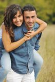 Happy young couple have romantic time outdoor Stock Image
