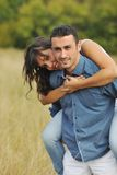 Happy young couple have romantic time outdoor Royalty Free Stock Photography