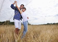 Happy young couple have romantic time outdoor Stock Photo