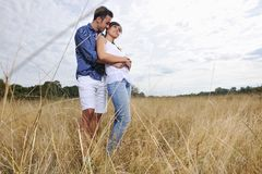 Happy young couple have romantic time outdoor Stock Photography