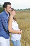 Happy young couple have romantic time outdoor Stock Images