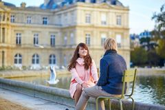Happy young couple having a date in Paris Royalty Free Stock Photo