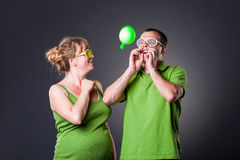 Happy young couple having fun with balloons Royalty Free Stock Image