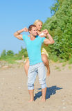 Happy young couple having fun. Royalty Free Stock Photos