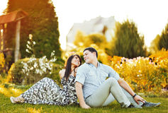 Happy young couple having fun outdoor Royalty Free Stock Image