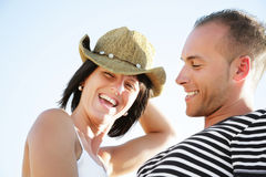 Happy young couple having fun outdoors. Royalty Free Stock Images