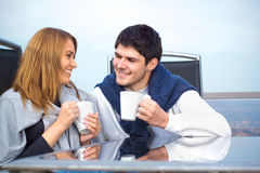 Happy Young couple having fun outside Stock Image