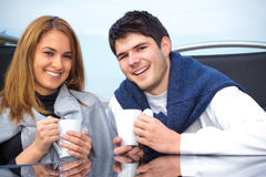 Happy Young couple having fun outside Royalty Free Stock Photos