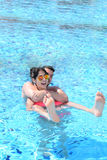 Happy young couple having fun  in a pool. Happy young couple on summer vacation Stock Photo