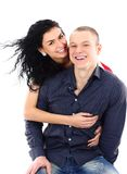 Happy young couple having fun together Stock Photos
