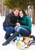 Happy young couple having fun in the winter park Royalty Free Stock Photo