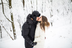 Happy young couple having fun in the winter park Stock Images